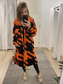 Check long blouse - orange
