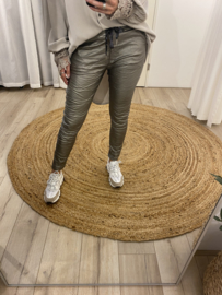 Jog coated pants - silver/taupe