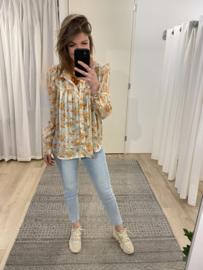 Print ruffle blouse 2.0 Azzurro - orange