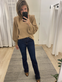 Shoulder knitted pull - beige/camel