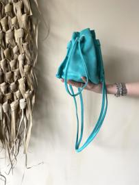 Suède pouch crossbody bag - turquoise