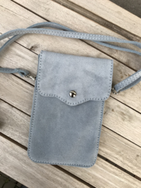 Little phone bag - suede blue