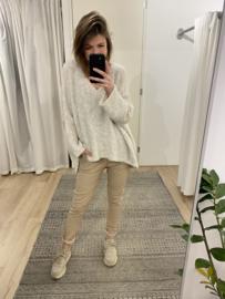 Teddy long back V-pull - beige