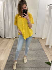 Embroidery blouse tee Azzurro - yellow