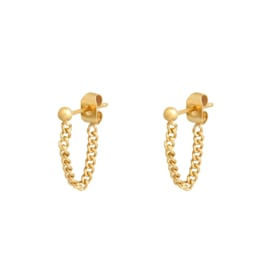 Earrings Stud and Chain - gold