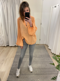 Cotton loose V-blouse - peach