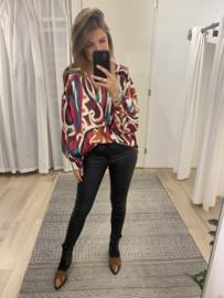 Retro satin blouse - pink