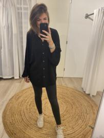 Ruffle basic blouse - black