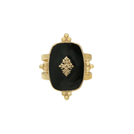 Ring Precious Leaf - black