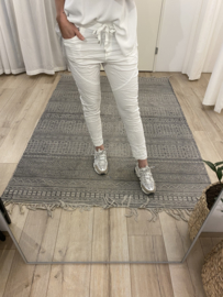 Embroidery jog pants - white
