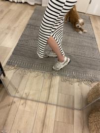 Stripe long skirt Azzurro - black