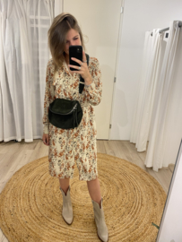Print ceintuur dress Rebelz - beige