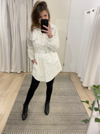 Leatherlook ceintuur blouse - off white