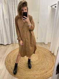 Cotton long blouse - camel