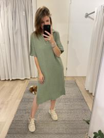 Cotton V-dress - army green