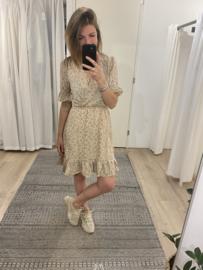 Print ruffle dress Rebelz - beige