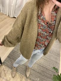 Knitted basic cardigan Rebelz - taupe