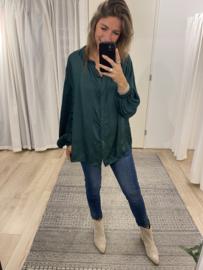 Satin basic blouse - green