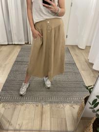Cotton button skirt - brown