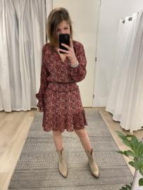 Cotton print dress Azzurro - red