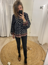 Print ballon blouse Azzurro - black