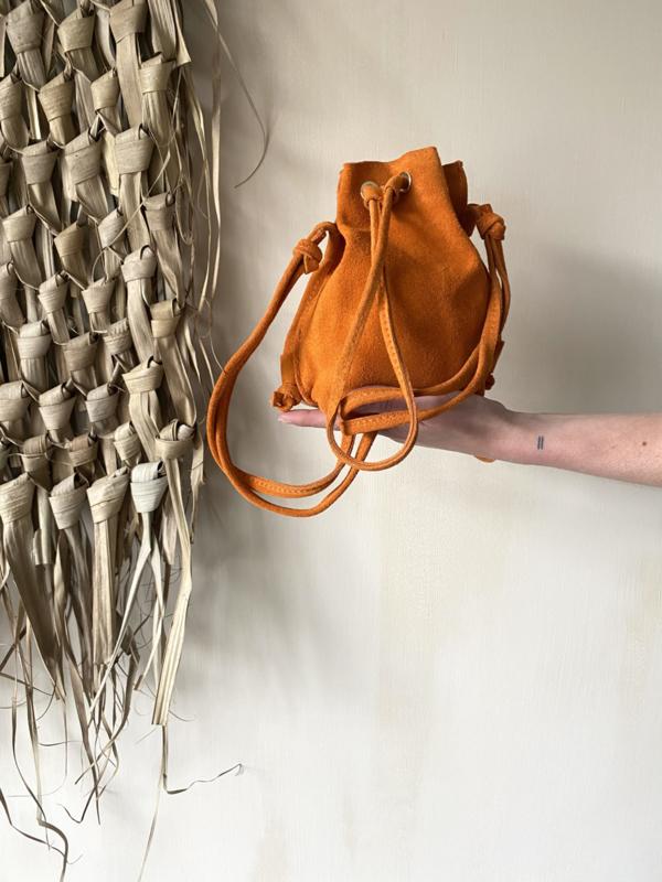 Suède pouch crossbody bag - orange