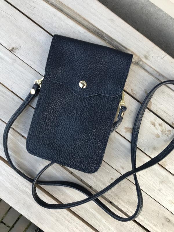 Little phone bag - leather dark blue