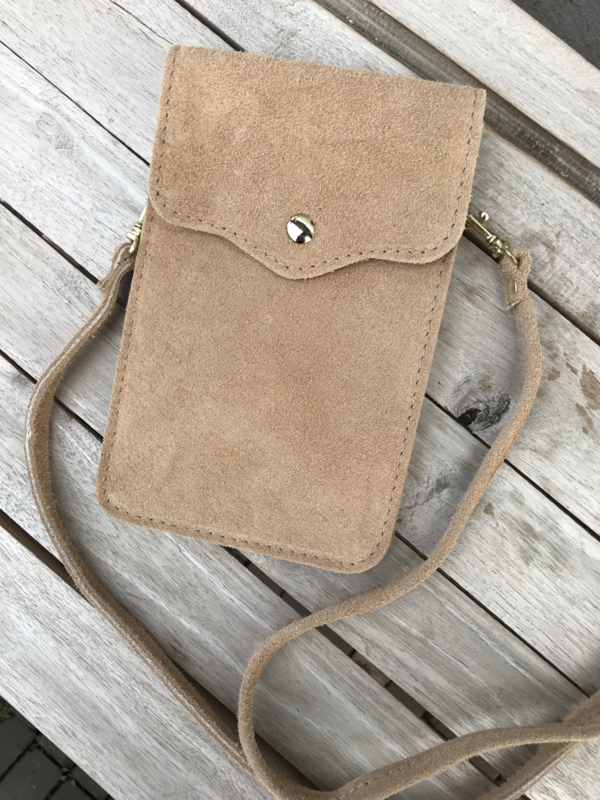 Little phone bag - suede dark beige