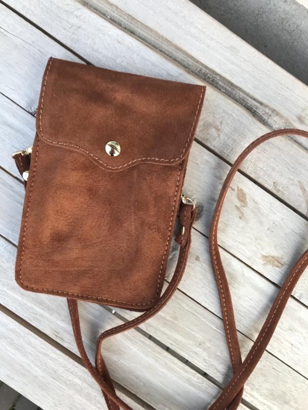 Little phone bag - suede brown