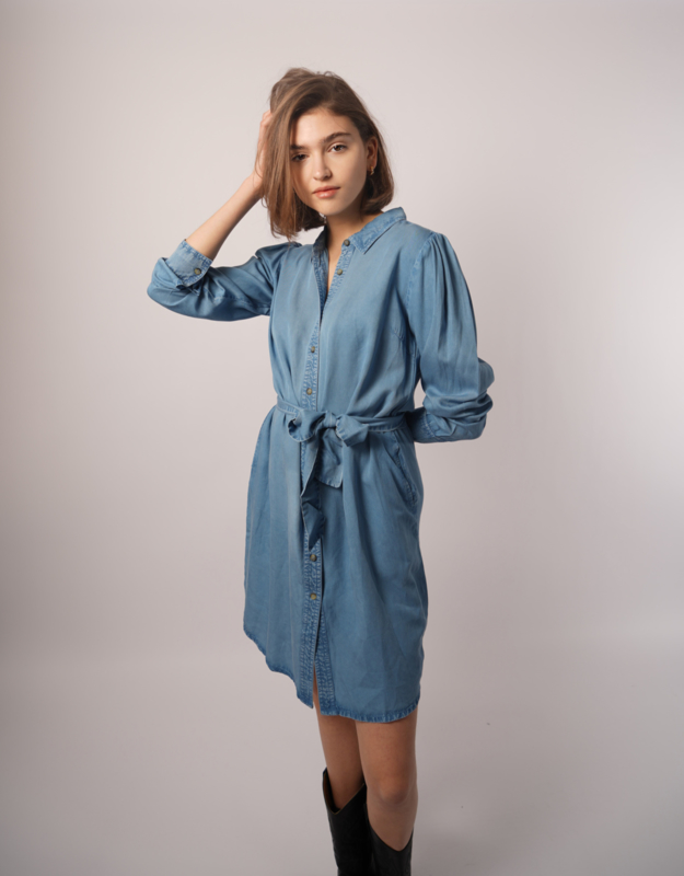 Denim ceintuur blouse dress Rebelz - blue