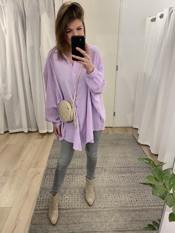 Cotton wide blouse - lila