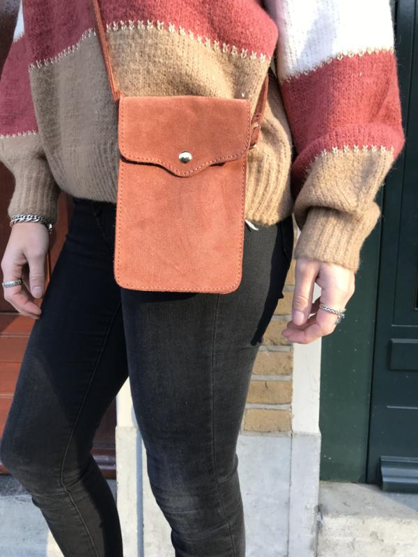 Little phone bag - suede terra