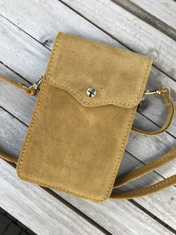 Little phone bag - suede yellow