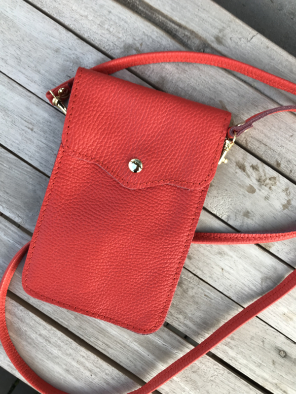 Little phone bag - leather red orange