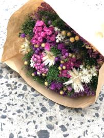 boeketje droogbloemen fuchsia  S