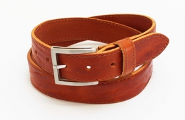 Cognac leren businessriem - 03509R