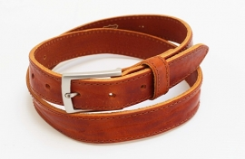 Cognac leren businessriem - 03009R