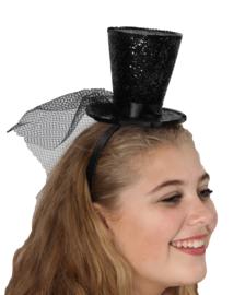 Hoge hoed op diadeem glitter