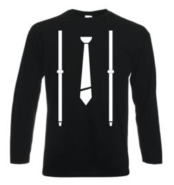 Shirt met stropdas en bretels