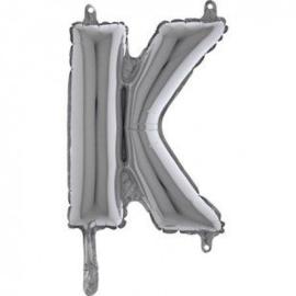 Zilveren Letter Folie ballon K