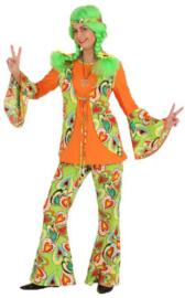 Hippie vrouw groen-oranje