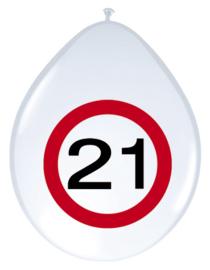 Verkeersbord ballonnen 21 jaar