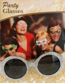 Ronde glitter bril, goud of zilver