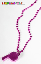Kralenketting met paars/roze fluit