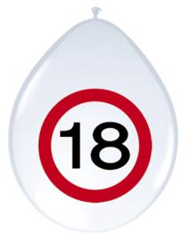 Verkeersbord ballonnen 18 jaar