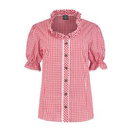 Rood wit geblokte blouse deluxe recht
