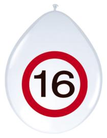 Verkeersbord ballonnen 16 jaar
