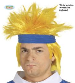 Gele pruik met haarband
