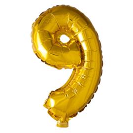 Folieballon cijfer 9 Goud XL