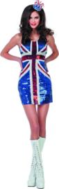 Jurk met pailletten in de vlag van Engeland